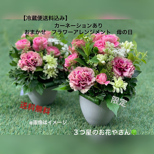 【冷蔵便送料込】カーネーションあり おまかせフラワーアレンジメント 生花