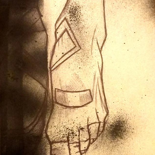 stylo bille et peinture sur papier