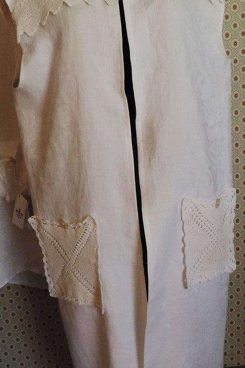 Antique Linen Duster, Long Vest, Tunic