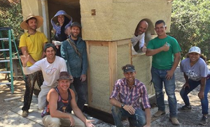 A fun group pic on the final day of the workshop with the Hemp Mini Shack in the background