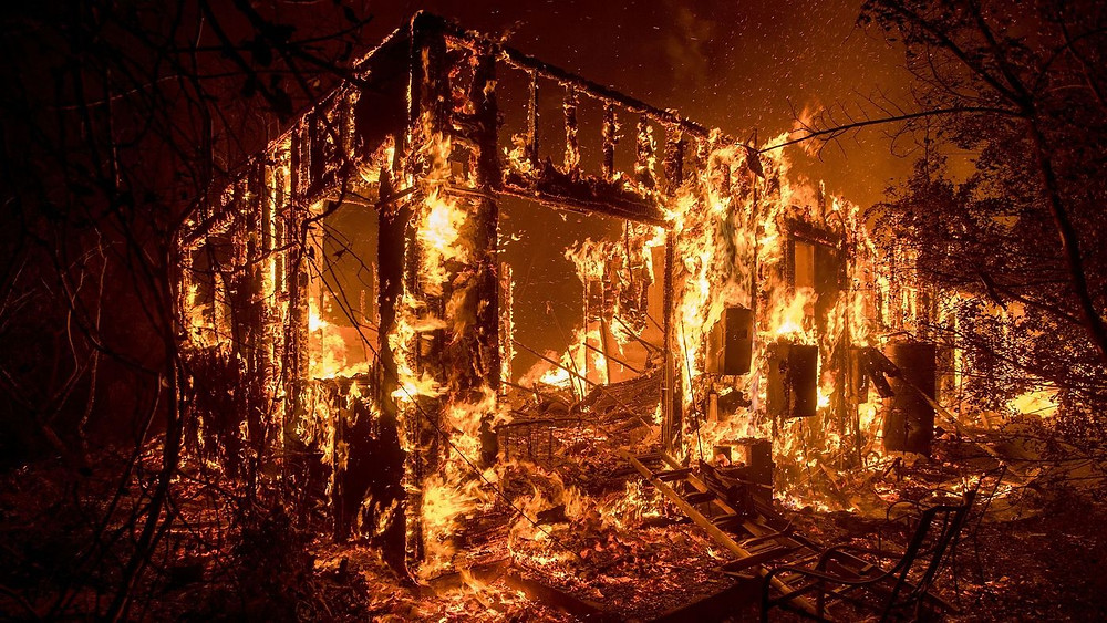 Home burning in 2018_ California's wild fires_ Hemp Homes are a solution