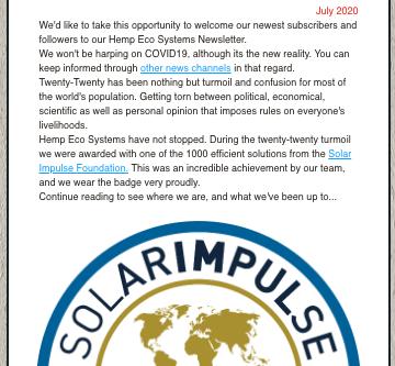 Hemp Eco Systems July Newsletter