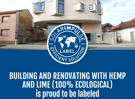 "Building and Renovating with Hemp and Lime awarded the ""Solar Impulse Efficient solution"" Label"