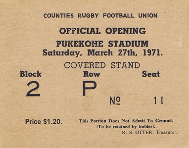 Pukekohe Stadium Opening Ticket 1971