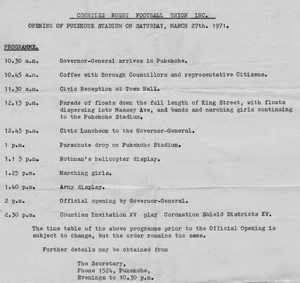 Pukekohe Stadium Opening Invitation 1971