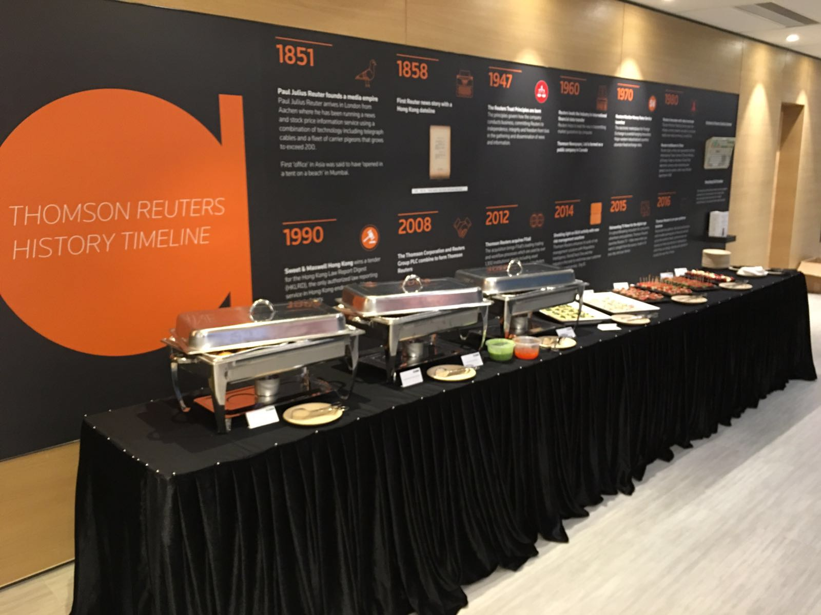 Buffet set-up at news agency