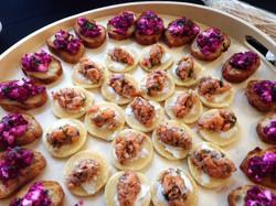 Smoked salmon cream cheese blinis