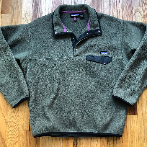 Vintage Patagonia Olive Green Snap T Fleece Pullover Jacket Sz M