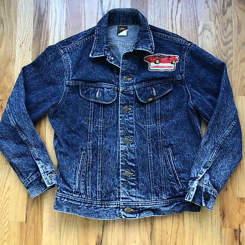 Vintage Lee Lamborghini Patch Denim Jean Jacket Sz S