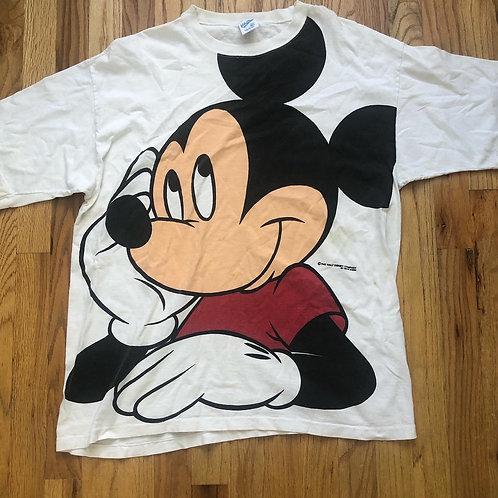 Vintage Velva Sheen Disney Mickey Mouse Mega Print T Shirt Tee Sz M/L