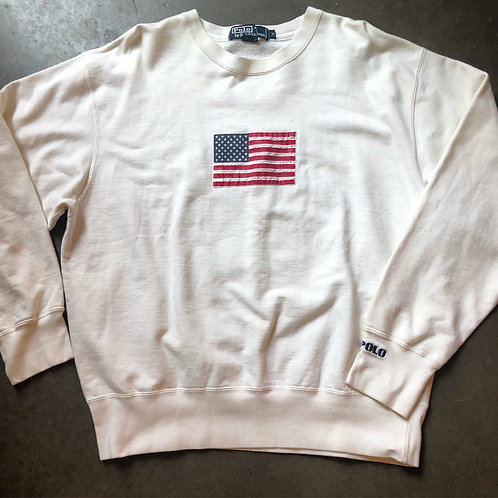 Vintage Polo Ralph Lauren Flag Crewneck Sweatshirt Sz M