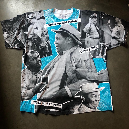 Vintage Delta Deputy Otis Andy Griffith Show All Over Print Shirt Sz 2XL