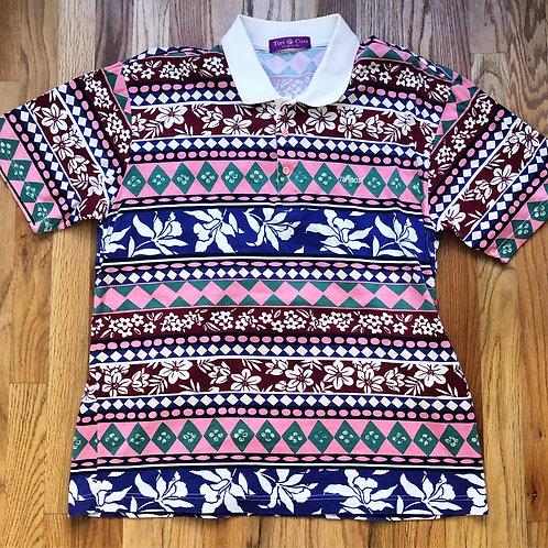 Vintage TipiCosi Floral Polo Shirt Sz L
