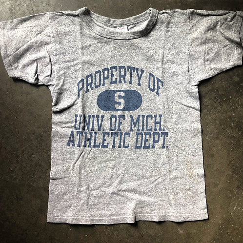 Vintage 80s Champion Michigan Athletic Department Heather Gray T Shirt Sz XS/S