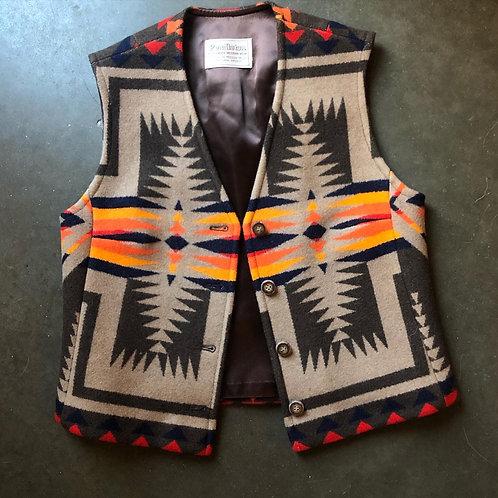 Vintage Pendleton High Grade Western Wear Tribal Aztec Print Vest Sz S/M