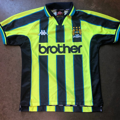 Vintage Kappa 1998-1999 Manchester City FC Jersey Kit Sz S