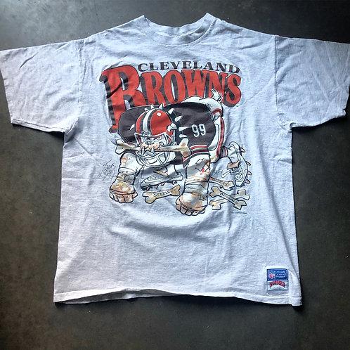 Vintage 80s Nutmeg Cleveland Browns Dawg Pound Heather Gray T Shirt Tee Sz L/XL