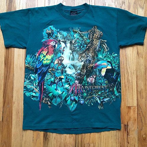 Vintage Habitat Rainforest All Over Print T Shirt Tee Sz L