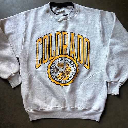 Vintage Velva Sheen Colorado Buffaloes Heather Gray Crewneck Sweatshirt Sz L