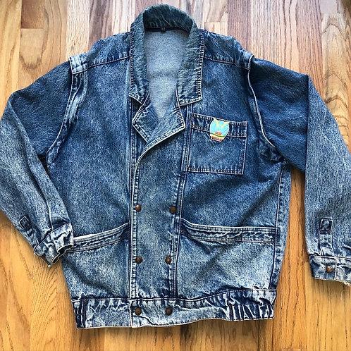 Vintage Acid Wash Convertible Denim Jean Jacket Sz XL