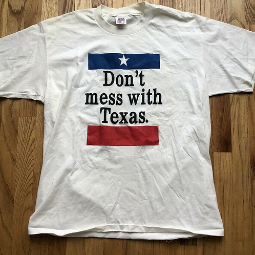 Vintage 90's Anvil Don't Mess With Texas Flag White T Shirt Tee Sz XL