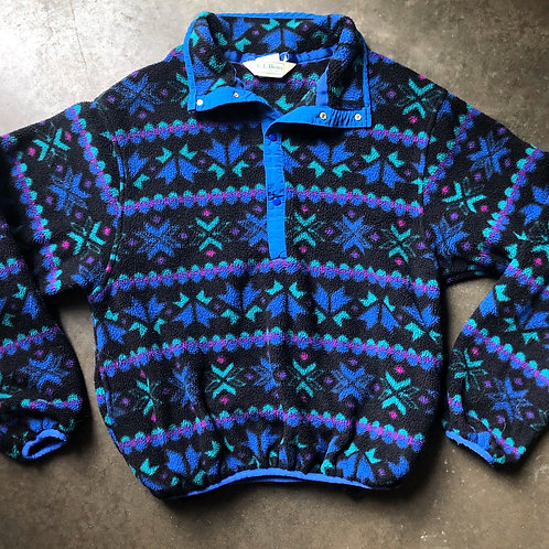 Vintage LL Bean Snap T Fleece Pullover Sz S