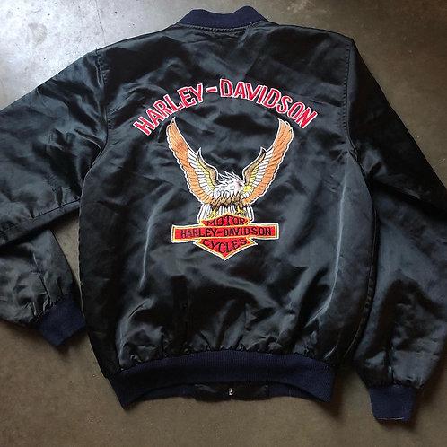 Vintage 70s Harley Davidson Satin Bomber Jacket Sz M/L