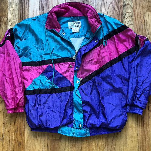 Vintage Casual Isle Color Block Windbreaker Jacket Sz S/M