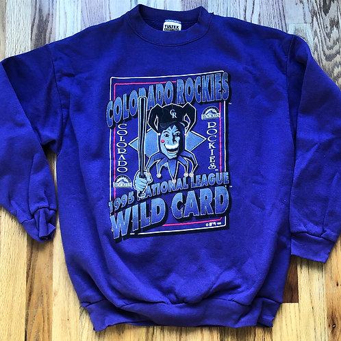 Vintage Tultex Colorado Rockies Wild Card Crewneck Sweatshirt Sz L