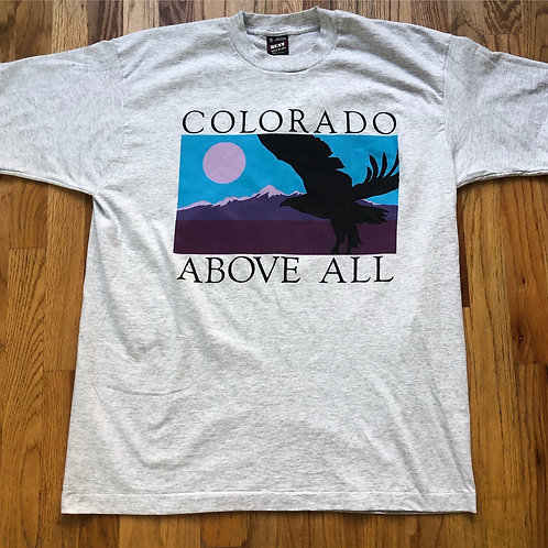 Vintage Colorado Above All Heather Gray T Shirt Tee Sz XL