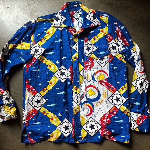 Vintage 90s Tribal Print Button Up Shirt Sz L/XL