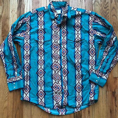 Vintage Wrangler Western Wear Aztec Print Long Sleeve Shirt Sz L