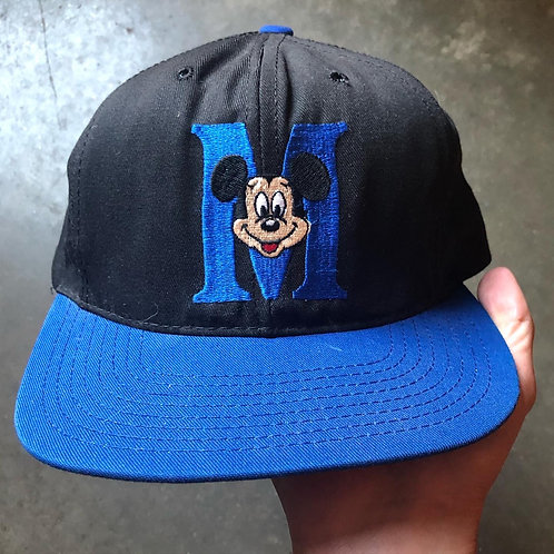 Vintage Mickey Mouse Leather Strapback Hat