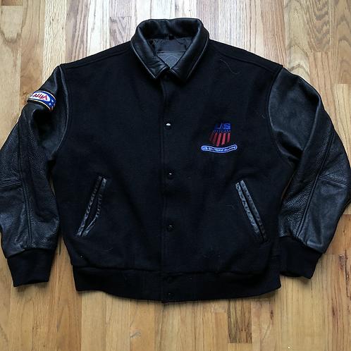 Vintage US Ski Team Alumni Leather Bomber Jacket Sz L