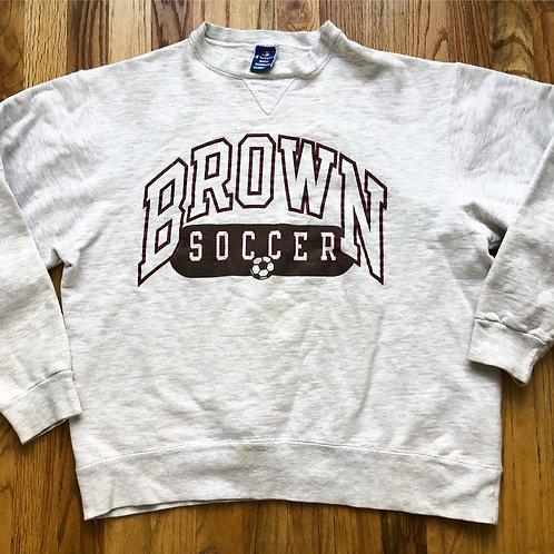 Vintage Champion Brown University Soccer Heather Gray Crewneck Sweatshirt Sz M/L
