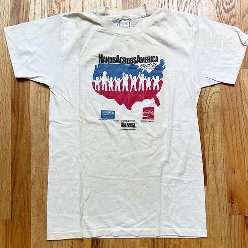Vintage 1986 Hands Across America T Shirt Tee Sz M
