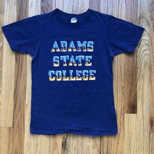 Vintage Champion Blue Bar Adams State College All Star T Shirt Tee Sz S/XS