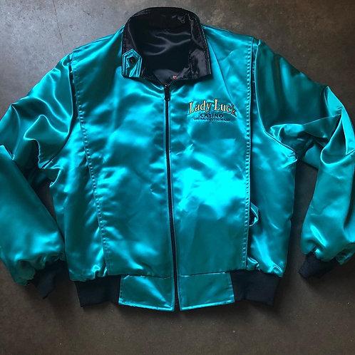 Vintage Lady Luck Casino Reversible Satin Bomber Jacket Sz M