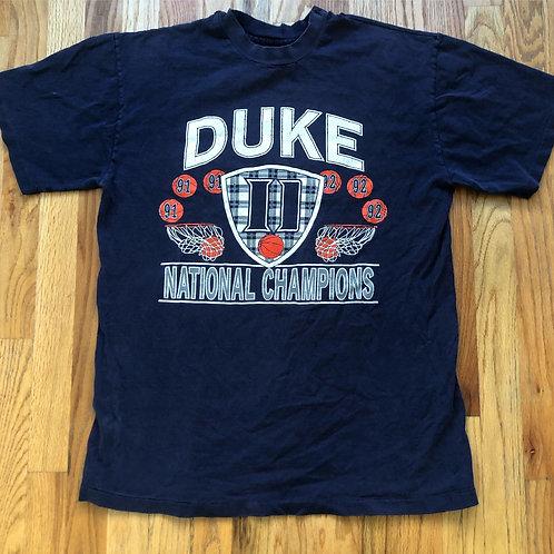Vintage 91/92 Duke Blue Devils Basketball National Champions T Shirt Tee Sz L