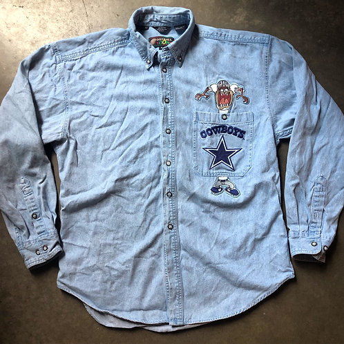 Vintage Looney Tunes Taz Dallas Cowboys Button Up Shirt Sz M