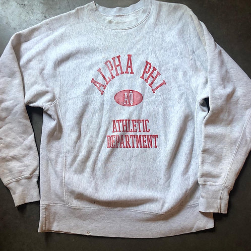 Vintage Alpha Phi Athletic Department Heather Gray Crewneck Sweatshirt Sz 2XL