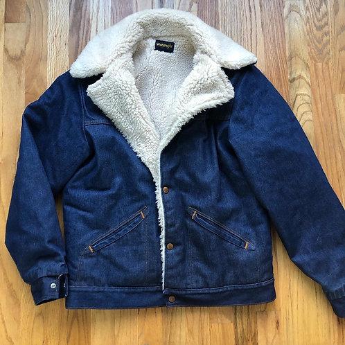 Vintage Wrangler USA Sherpa Lined Denim Jean Jacket Sz M