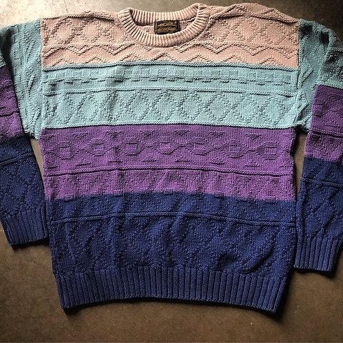 Vintage Eddie Bauer Color Block Crewneck Sweater Sz L