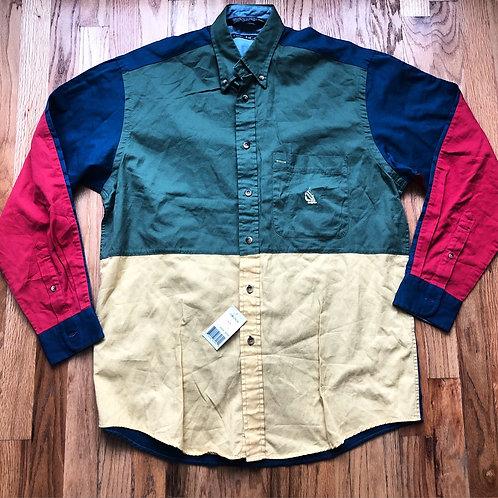 NWT Vintage Nautica Color Block Button Up Shirt Sz M