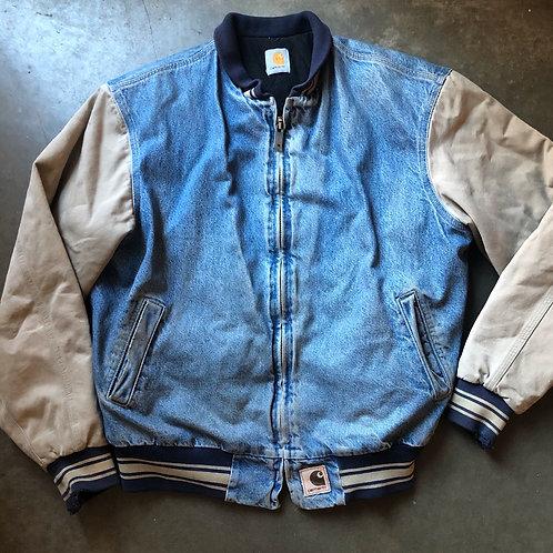 Vintage Carhartt Denim Bomber Jacket Sz XL