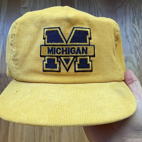 Vintage Michigan Wolverines Yellow Corduroy Snapback Hap