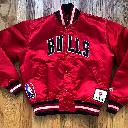Vintage Starter Chicago Bulls Satin Bomber Jacket Sz M/L