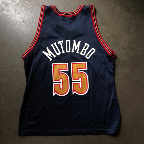 69d14d53b18 Vintage Champion Denver Nuggets Dikembe Mutombo Jersey Sz 44