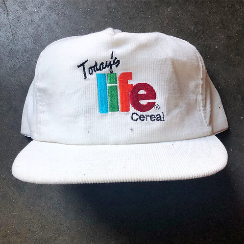 Vintage 80s Today's Life Cereal Corduroy Snapback Hat