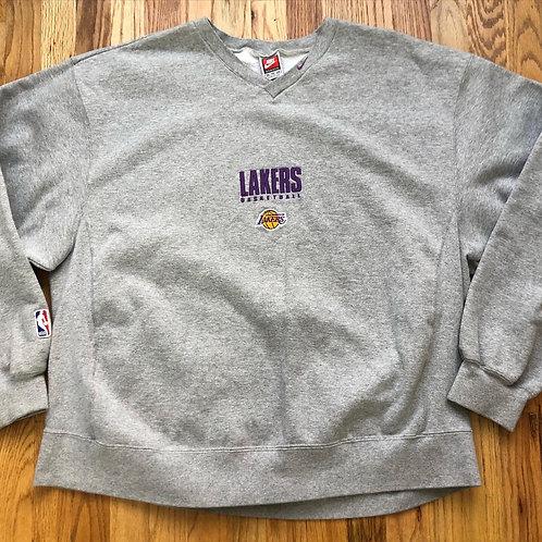 Vintage Nike Los Angeles Lakers Heather Gray Sweatshirt Sz 2XL